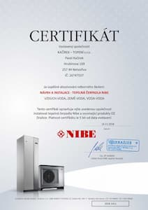 Kacirek Certifikat - Navrh a instalace tepelnych cerpadel NIBE - nahled