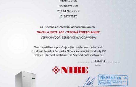 Kacirek Certifikat - Navrh a instalace tepelnych cerpadel NIBE